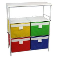 Household Essentials Storage Stand is a bright white storage stand with 6 colorful storage bins that fit in it. Each bin has a decorative white band and pull tab handle on the front. The hard-topped