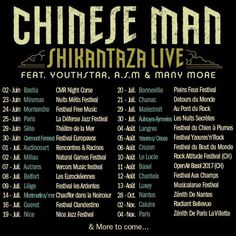 Chinese Man reprend la route ce soir et pendant tout l'étéavec Youthstar - Chinese Man Records & ASM - A State of Mind !! Ecoute Shikantaza : http://ift.tt/2fPustl   23 Juin - Festival Nuits Métis - Miramas 24 Juin - Festival Freemusic - Montendre 25 Juin - La Défense Jazz Festival - Paris 29 Juin - Chinese Man Shikantaza Live & Poldoore Live - Théâtre de la Mer - Sete 30 Juin - Festival EUROPAVOX - Clermont Ferrand 01 Juillet - Rencontres et Racines - Audincourt 02 Juillet - Natural Games…