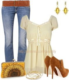 """Sunflower Clutch & Ankle Booties"" by casuality on Polyvore"