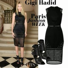 Gigi Hadid in black lace pencil dress and black open toe ankle sandals