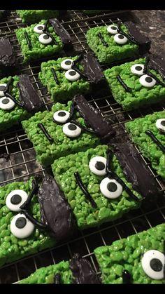 Incredible Hulk rice crispy treats for my nephew's superhero birthday party.