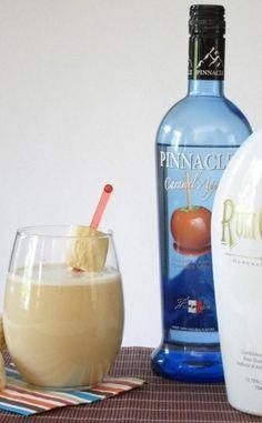 Caramel Apple Pie Cocktail: apple cider, Pinnacle Caramel Apple vodka, Rumchata