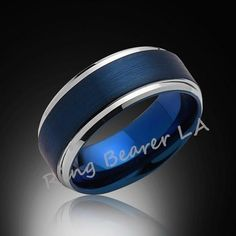 8mm,New,Satin,Brushed Blue Ring, Silver,Tungsten Ring,Mens Wedding Band,Blue Ring,Comfort Fit