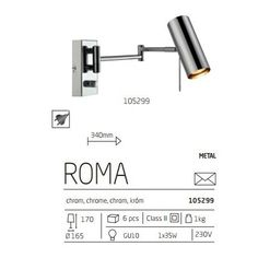 Kinkiet LAMPA ścienna ROMA 105299 Markslojd chrom