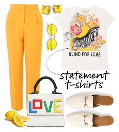 """Say It Loud: Slogan T-shirts"" by erliza on Polyvore featuring Gucci, Topshop, Les Petits Joueurs and Ray-Ban"