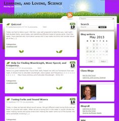 Example of a class blog where the students rotate through the role of publishing a post on the class blog about what was covered during class.