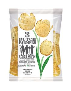 3 Dutch Farmers' crisps is exclusively developed for Schiphol (Amsterdam) Airport. These crisps are handbaked from potatoes grown at the farm of three real Dutch farmers. Packaging Design: SoGood Design, Netherlands | The Dieline