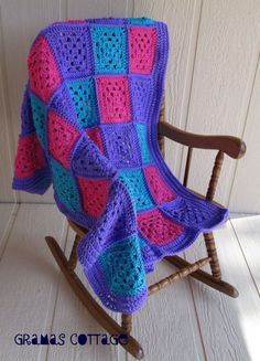 Hand Crocheted Baby Blanket.  Love the colors.