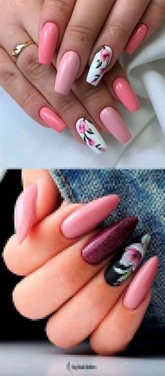 If you are searching for cute nail colors for spring and beautiful spring nail designs then check our Stylish nails especially Floral nails and butterfly nails. Summer Acrylic Nails, Best Acrylic Nails, Spring Nail Art, Spring Nails, Pink Summer Nails, Summer Holiday Nails, Pretty Nails For Summer, Summer Nail Polish, Fall Nails