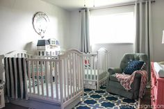 The girls' room was the first one I painted when I moved into the new house. I felt like with the change for her, I wanted her bedroom to be. Shared Nursery, Indoor Pillow, Pillow Room, Room Accent, Affordable Home Decor, Upholstered Crib, Pillows, Vintage Furniture, Painting A Crib