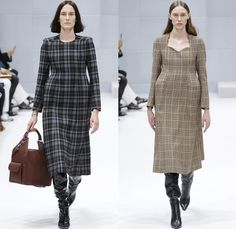 Balenciaga 2016-2017 Fall Autumn Winter Womens Runway Catwalk Collection Looks - Paris Fashion Week Mode à Paris France - Denim Jean Jacket Boxy Curved Waist Padded Flowers Floral Print Plaid Tartan Check Blouse Trench Coat Furry Turtleneck Skirt Frock Chain Sweater Parka Stripes Quilted Waffle Puffer Pantsuit Blazer Strapless Ruffles Mix Panels Patchwork Pointed Shoulders Sheer Leggings Candy Cane Handbag Boots Tote