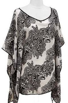Olive & Pique − Paisley Floral Lightweight Poncho  18.95
