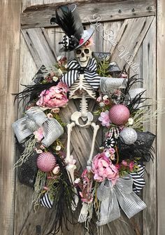 Pink Halloween, Halloween Wreath, Skeleton Decor by Ba Bam Wreaths