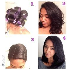 """Beautiful Results with No Heat by @fluffcoif """"#tbt - Some of you have asked how I straighten my hair, well here it is! (1) I roller set my hair and either air dry or sit under the hooded dryer until the hair is 100% dry. The products you use for this is truly up to you! I use very little products because I like to have a lot of movement in my hair. (2) The bigger the rollers, the bigger the curls. You can stop here or you can continue on to steps 3 and 4. (3) Wrap your hair overnight!"""""""