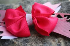 Pink leopard and white stacked bow. by RockabillyBabyPlace on Etsy, $3.00