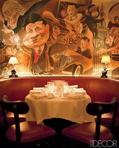 ELLE DECOR Goes to Manhattan - The Edward Sorel mural at the Monkey Bar