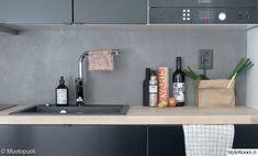 mikrosementti,välitila,keittiö,remontti,moderni keittiö