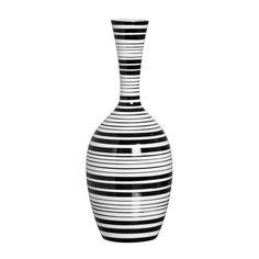 Vaso de Chão Listrado Decorativo G. Acessório decorativo nas cores preto e branco para deixar a decoração do seu ambiente lindo e na moda.