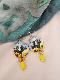 Polymer Clay Crafts, Polymer Clay Earrings, Cactus Earrings, Drop Earrings, Diy Tutorial, Diana, Jewelery, Crochet Earrings, Pottery