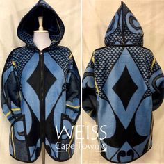 African BASOTHO Blanket re-envisioned as a Hoodie Jacket  www.etsy.com/shop/weisscapetown Blanket Coat, Ankara Fabric, African Fashion Dresses, Clothing Co, Hoodie Jacket, Cape Town, Swagg, Afro, Coats