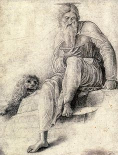 St Jerome Reading with the Lion, by Andrea Mantegna, Leonardo da Vinci spent the winter of 1500 in Mantua, where Mantegna executed this sketch. Some art historians propose the sketch portrays Leonardo. Hieronymus Bosch, Jan Van Eyck, Italian Renaissance, Renaissance Art, Andrea Mantegna, Best Magician, Giovanni Bellini, St Jerome, Religious Paintings
