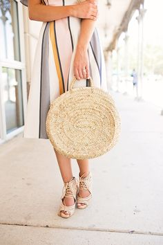 Stripe Off the Shoulder Dress // Stripe Midi Dress // Straw Tote
