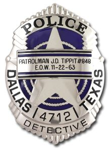 A commemorative police badge produced in honor of Officer J.D. Tippit 50 years after the JFK assassination. Law Enforcement Today www.lawenforcementtoday.com
