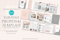 Surayah - Business Proposal Template by Blissful Pixels on Business Proposal Template, Proposal Templates, Web Browser, Cover Pages, Brochure Template, Case Study, Lettering, Brochures, Learning