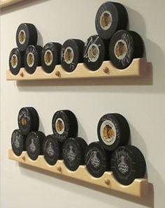 Hockey Puck Display Case Holder / Rack - would be nice for displaying pucks- Jake Boys Hockey Room, Hockey Man Cave, Hockey Mom, Hockey Stuff, Hockey Girls, Hockey Girlfriend, Field Hockey, Hockey Tape, Hockey Nursery