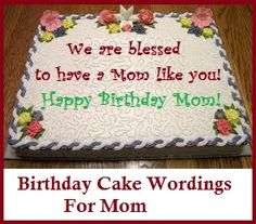 Birthday Cake Wordings Mom For Special Cakes Classic