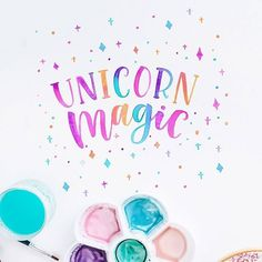 """Brush lettering by @carmia.cronje on Instagram. I created some """"unicorn"""" letters the other day and loved the colours so much that I decided to put it on a mug. Click the link in my profile if you would like to see it!"""