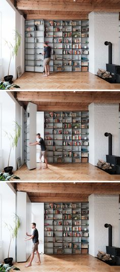 A bedroom hides behind this bookcase and is accessed through a secret door.
