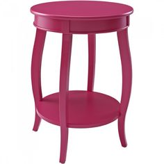 Powell Bubblegum Round Table with Shelf in Muted Red
