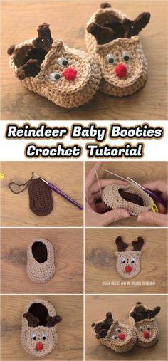 Crochet Rudy The Reindeer Baby Booties - Yarnandhooks