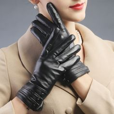 autumn winter women warm buttons Christmas gift new design show dress opera touch screen leather driving gloves mittens