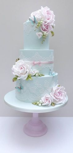 Lace Blue Cake With Pink-Lavender Colored Roses and Butterflies