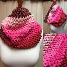 Crochet Cowl, Puff Stitch Cowl, Pink and Red Cowl, Striped Cowl, Multi Color Cowl, Gifts for Her, Circle Scarf, Crocheted Cowl by CozyNCuteCrochet on Etsy