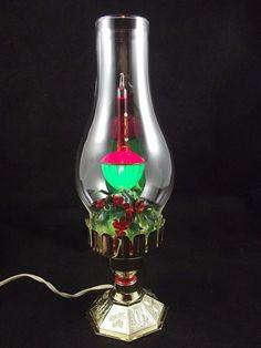 "Vintage Bubbling Light Electric Christmas Lamp Hurricane Shape 12"" w/Box"