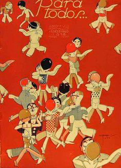 * Couverture du magazine brésilien PARA TODOS Décembre 1926 - José Carlos de Brito e Cunha, connu comme J Carlos (1884 - 1950) dessinateur, illustrateur et graphiste brésilien considéré comme l'un des plus grands représentants du style art déco en design graphique brésilien.