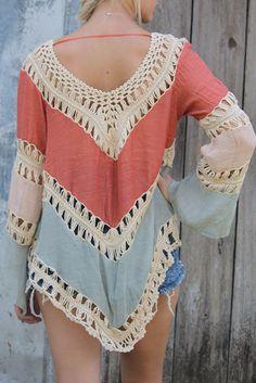 Farewell Summer Rust & Light Sage Crochet Knit Tunic Top