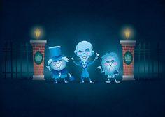 Haunted Mansion Hitchhiking Ghosts by Jerrod Maruyama Disney Rides, Disney Pixar, Walt Disney, Disney Characters, Disney Halloween, Halloween Art, Halloween Images, Halloween Stuff, Disney Love