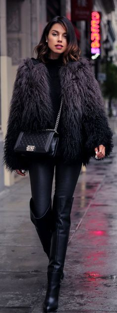 Fuzzy Trend: Annabelle Fleur is wearing a fuzzy faux fur jacket from Zadig et Voltaire