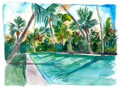 """Saatchi Art is pleased to offer the painting, """"The Cool Quiet Key West Florida Pool,"""" by M Bleichner, available for purchase at $479 USD. Original Painting: Watercolor on Paper. Size is 7.9 H x 11.8 W x 0.4 in. Key West Florida, Florida Keys, Wall Tattoos, Jamaican Art, Pool Paint, Florida Pool, Palm Garden, Original Paintings For Sale, Original Artwork"""