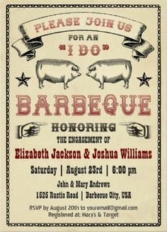 """Vintage rustic """"I Do"""" BBQ Wedding Invitations. Even if it's an """"arranged marraige"""" you can still get some great food out of this whole marraige thing. Easily customized in a jiffy! #I_Do_Barbeque_Invitations."""