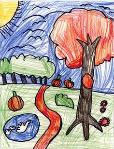 Art Projects for Kids: Fall Landscape Drawing