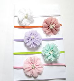 Set of 5 Baby Flower Headband Baby Headband by colorsplashh Baby Flower Headbands, Headband Baby, Newborn Headbands, Elastic Headbands, Shabby Flowers, Fabric Flowers, 5 Babies, Photo Props, How To Make