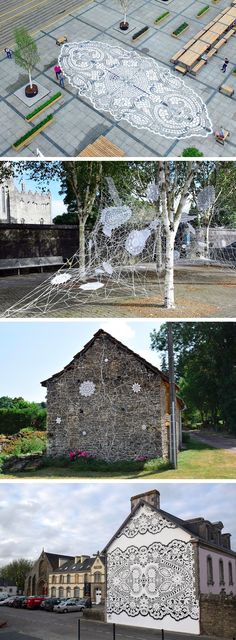 New Lace Street Art Created with Ceramic, Textile, and Spray Paint by NeSpoon