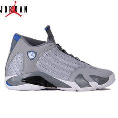 competitive price ef32d e203d Authentic 487471-004 Air Jordan 14 Retro Wolf Grey White-Sport Blue,