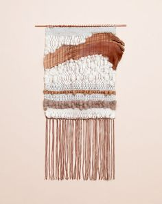 this one has already been sold - but woven wall hangings were big during the period she likes, and theyre coming back in style! avery and i found a bunch of sources for them the other day //// Natural Element 2 weaving by Brook Lyn Art Fibres Textiles, Textile Fiber Art, Weaving Textiles, Weaving Art, Loom Weaving, Tapestry Weaving, Hand Weaving, Art Yarn, Weaving Projects