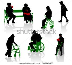 Silhouette of old and disabled people. - stock vector